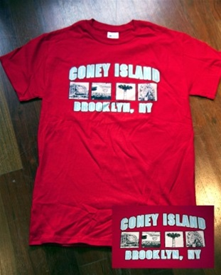 "Coney Island Mens T Shirt with ""LANDMARKS"" Print"