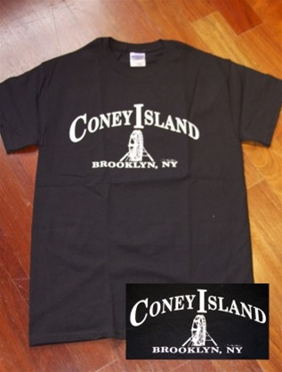 "Coney Island Mens T Shirt with ""Whitewheel"" Print"