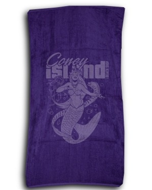 Terry Velour MERMAID Beach Towel [Purple]