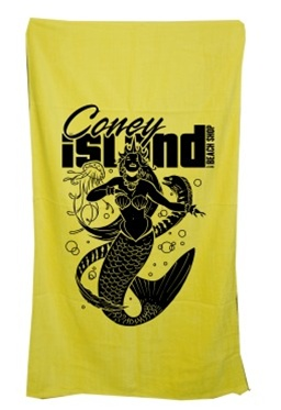 Terry Velour MERMAID Beach Towel [yellow]