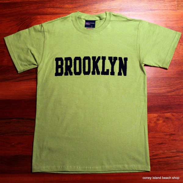 Brooklyn t shirt lime with navy blue applique for T shirt printing brooklyn