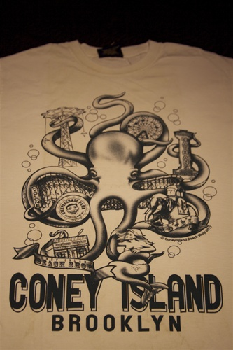 coney island tshirt white octopus
