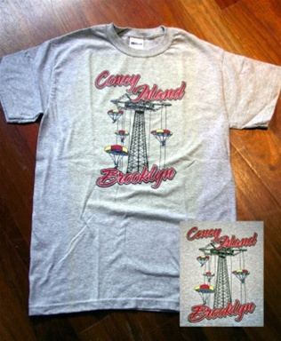 "Coney Island Mens T Shirt with ""PARACHUTEJUMP"" Print"
