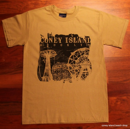 CONEY ISLAND T-Shirt featuring the AMUSEMENT PARK (Sand)